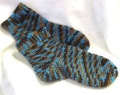 Slipper Socks Handmade Crochet Blue Child/Youth  by SewDarnComfy