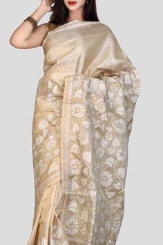 Beige Kantha Stitch Tussar Silk Saree