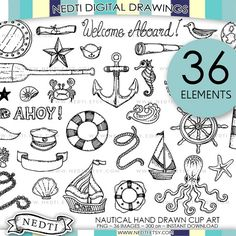 BEST SELLER Nautical Doodle Clip Art Anchor Clipart by Nedti