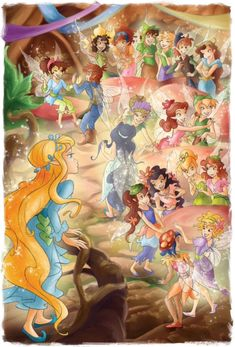 Lily, Violet, Aiden, Spinner, Rosetta, Beck, Silvermist, Prilla, Tinkerbell, Fira, Bess, Iris, Quill & Rani in the Home Tree Courtyard. Disney Fairies, Tinkerbell, Princesas Disney Dark, Pixie Hollow, Quill, Faeries, Iris, Cartoons, Modern Princess