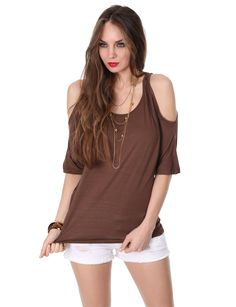 J.TOMSON Womens Deep V-Neck Short Sleeve Cut Out Shoulder Top at Amazon Women's Clothing store: