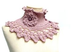 Pink Crochet Neckwarmer / Capelet with turtleneck ruffle by ixela, on Etsy