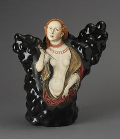 "Kadri Pärnamets, ""Question of Honor — Lucretia, after Lucas Cranach the Elder, porcelain, slip, glaze, 11 x 10.5 x 5""."