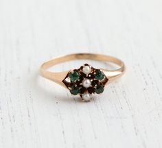 Antique Victorian 10K Yellow Gold Ring -  Late 1800s Emerald & Seed Pearls Size 6 1/2 Flower Fine Jewelry / Green and White Cluster on Etsy, $225.00