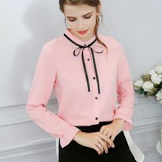 8d5a0f3505b64 New Spring Women Tops Summer 2018 Solid Color Sweet Bow Long Sleeve Slim  Shirt Blouse Office