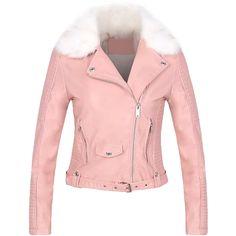 3e7e1af8e7a5d Yoins Pink Leather Biker Jacket with Artificial Fur (1 955 UAH) ❤ liked on
