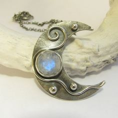 Crescent Moon Necklace  Moonstone Necklace  Artisan by Mocahete, $248.00