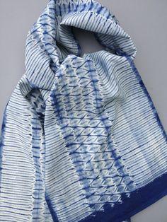Woven Shibori Scarf Blank - Lia Stripe