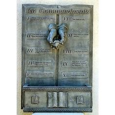 Each of the commandments are inscribed on the Ten Commandments Wall Fountain. Outdoor Wall Fountains, Indoor Water Fountains, Indoor Fountain, Book Of Exodus, Ten Commandments, Cast Stone, Water Features, Door Handles, It Cast