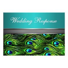 Teal & Green Peacock Feather Wedding RSVP Cards