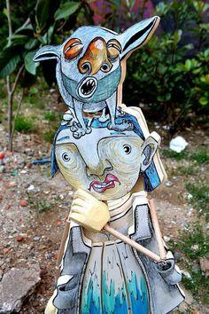 Free ship Wood Sculpture Wooden Puppets Natural Art by eddlook