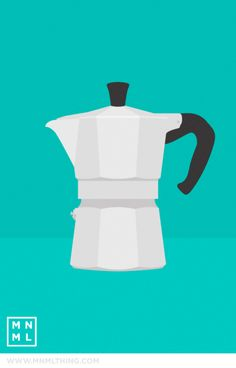 Bialetti, by MNML THING (One of my favorite ways to make coffee! Coffee Illustration, Simple Illustration, Paris Illustration, Italian Coffee Maker, Kitchen Art Prints, Ways To Make Coffee, Coffee Games, Candy Art, Street Art Graffiti