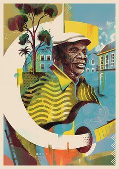 Projeto de arte coletivo em homenagem aos 100 anos do samba. De A a Z, grandes nomes serão retratados por artistas e ilustradores em obras exclusivas. Afro, African Paintings, Observational Drawing, Rock Posters, World Cultures, Medium Art, Travel Posters, Art Direction, Wallpaper Backgrounds