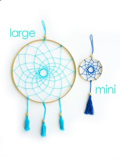 Simply Modern Dreamcatchers...I made big Dreamers and Flynn wanted a small one too. I think it turned out really well!I hand thread these in my sun filled home studio. I make the tassels too :) It's ready to hang above your bed, with the promise