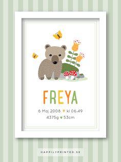 Födelsetavla/doptavla med söt björn, svampar, blommor och fjärilar. Fin doppresent. Väggdekor till barnrum. Namntavla