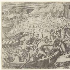 Ontvoering van Helena van Troje door Paris, Marcantonio Raimondi, after Rafaël, 1510 - 1527 - Rijksmuseum