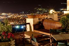 by night Pilion Mountain Outdoor Furniture Sets, Outdoor Decor, Cafe Bar, Greece, Patio, Island, Night, Mountain, Home Decor