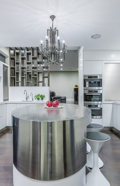 Featured in International Book publication 'Kitchen Inspiration' Stainless steel, Silestone Quartz benchtops, with textured lacquered wall cabinetry, electronic opening drawers and doors Glamour, Laundry In Bathroom, Cool Kitchens, Pantry, Designer, Oriental, Interior Design, Table, Furniture