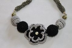Black and White Flower Crochet Necklace by CHRYHAstyle on Etsy, $30.00