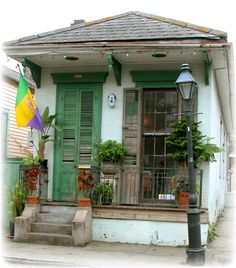 Shotgun shack-French Quarter-New Orleans-read the article below for some really interesting background on the history of shotgun houses. Description from pinterest.com. I searched for this on bing.com/images