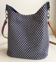 navy blue with white polka dot crossbody purse by ARPCreations on Etsy