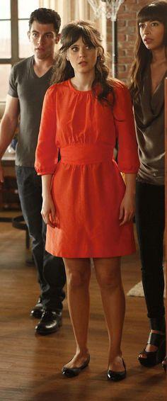 Zooey Deschanel's Red Half Sleeve Dress from New Girl Thanksgiving Episode.