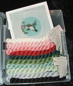Handpainted Needlepoint Kit HUMMINGBIRD ORNAMENT +10 Silk & Ivory Threads & Case