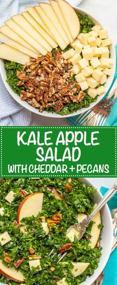 Kale apple salad with cheddar and pecans is an easy, flavorful massaged kale salad that's great as a side or for lunch! | www.familyfoodonthetable.com