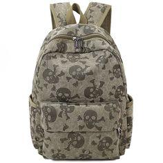 2016 Wholesale Fashion Skull Women Canvas Backpacks Student School Bags for Girl Boy Teenagers Backpack Rucksack Mochila F086 #women, #men, #hats, #watches, #belts, #fashion, #style