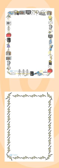 Twinkl Resources >> Electricity Page Borders  >> Classroom printables for Pre-School, Kindergarten, Elementary School and beyond! Topics, Science, Electricity, Printable Writing Paper, Borders