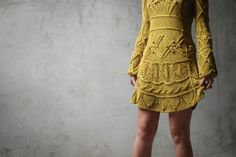 Cotton cable hand knitted dress in mustard. $450.00, via Etsy.
