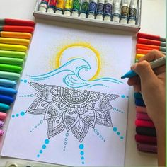 style guide for creative person ☘fashion diva,cute. Sharpie Drawings, Cool Art Drawings, Pencil Art Drawings, Art Drawings Sketches, Doodle Drawings, Doodle Art, Mandala Doodle, Mandala Drawing, Arte Sharpie