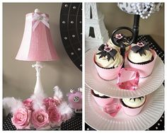 chic pink black pearl paris birthday party