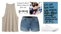 """""""This isn't fair"""" by miki1994 ❤ liked on Polyvore featuring LE3NO, Converse and ZeroUV"""