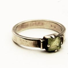 Vintage Sterling Silver Ring with Square Green Peridot Stone, Size 6.5 (V318). $28.50, via Etsy.