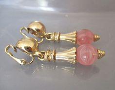 Grosse Earrings  Pink Glass Rhinestone Dangle by SheWhoSparkles