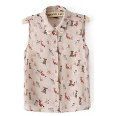 Multi Cute Dog Print Lapel Sleeveless Shirt ($19) ❤ liked on Polyvore featuring tops, multi, button front tops, sleeveless tops, colorful shirts, pink sleeveless top and shirt top
