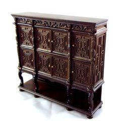 Dolls House Fine 1 12 Miniature Furniture Carved Dark Oak Wooden Tudor Cabinet