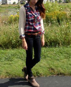 plaid shirt under cream sweater, dark wash jeans and sunglasses. fall fashion 2013