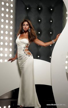 Jasz Couture 4335 - White One Shoulder Jersey Stretch Prom Dresses Online 8c64ff6d2f