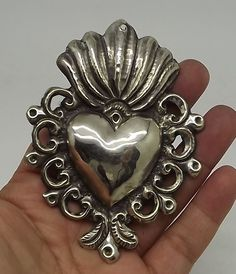"""ANTIQUE Sacred Heart Jesus Ex Voto MILAGRO MIRACLE SILVERED 3 7/8"""" TALL C-56"""