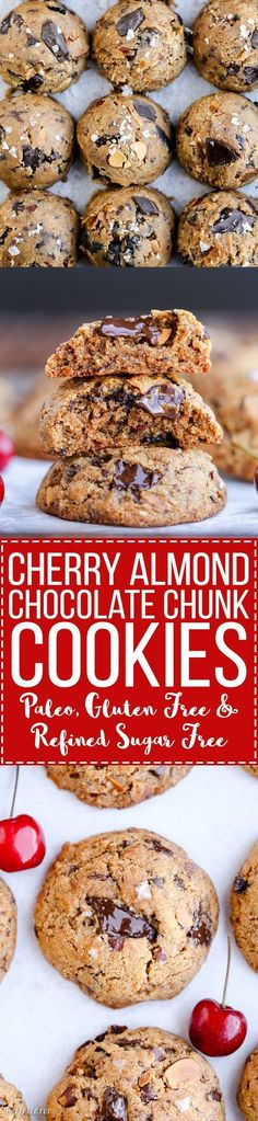 These Paleo Cherry Almond Chocolate Chunk Cookies are chewy, gooey ...