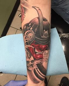 In progress cover up. Part of a Japanese inspired sleeve #samurai #samuraimask #coverup