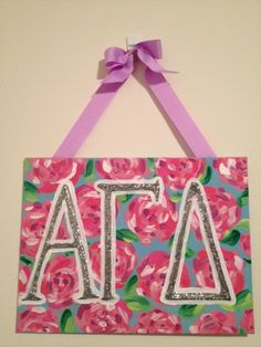 Alpha Gamma Delta Lilly Pulitzer Inspired Rose by PinkPugCreations, $20.00