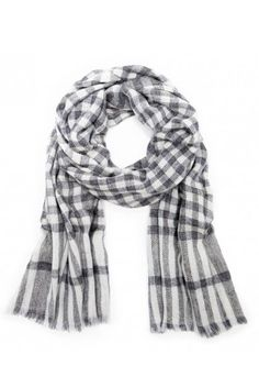 Cashmere scarf in a cream & grey checkered print by @solesociety