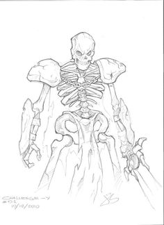 Sketches - Skeleton Warrior by (deviantART) Fantasy Character Design, Character Design Inspiration, Character Concept, Character Art, Cute Skeleton, Skeleton Art, Monster Sketch, Monster Art, Skeleton Warrior