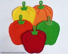 070 Sweet peppers potholder or decor  Amigurumi by LittleOwlsHut