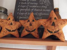Primitive Fall/Halloween Pumpkin Stars by primitivecrows on Etsy