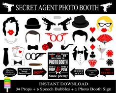 PRINTABLE James Bond Photo Booth Props Printable Photo Booth