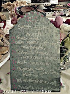 Valentine Brunch menu